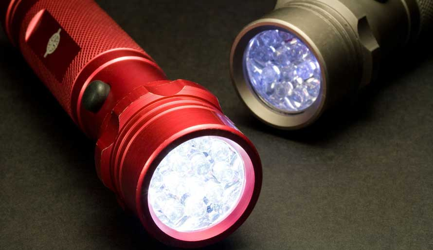 2 torches black and red with lights on